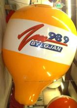 Custom Balloon - 17.5 ft. hot-air balloon shape helium balloon with radio station logo.