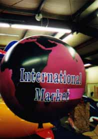 globe helium balloon with logo