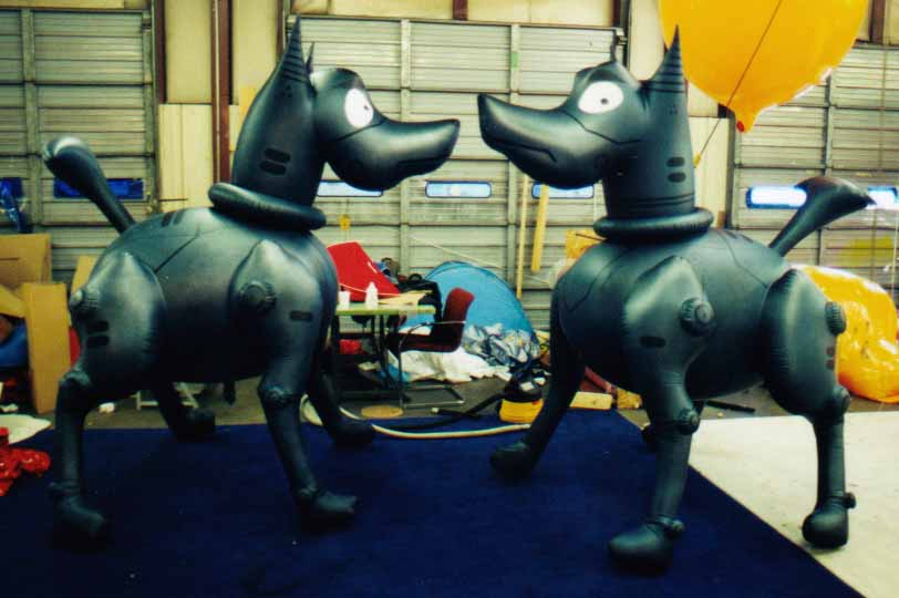 custom helium balloons - custom shape dog helium inflatables made in USA.