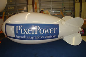 helium advertising blimp with custom logo - blimps increase visibility - NOW!