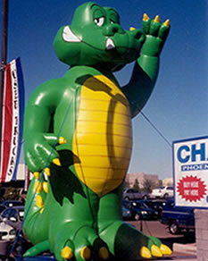 Alligator inflatable for sale and rent. 25 ft. tall advertising inflatables